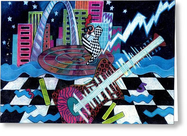 Lightning Prints Greeting Cards - Music On The River STL Style Greeting Card by Genevieve Esson