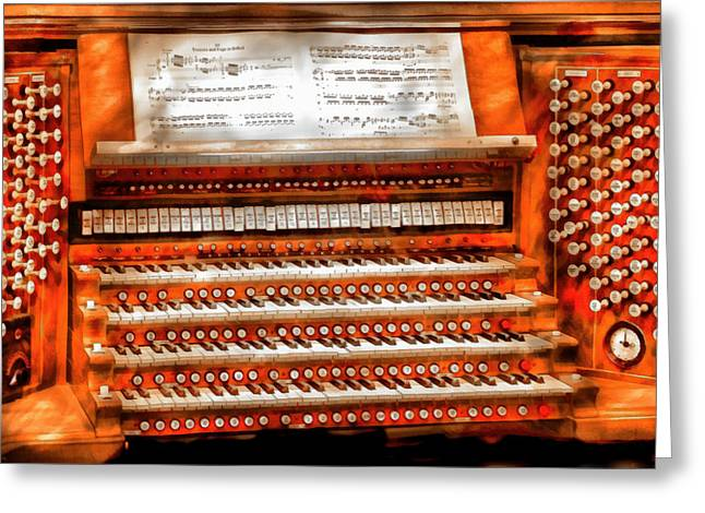 Music - Organist - The Pipe Organ Greeting Card by Mike Savad