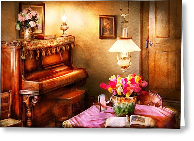 Music - Piano - The Music Room Greeting Card by Mike Savad