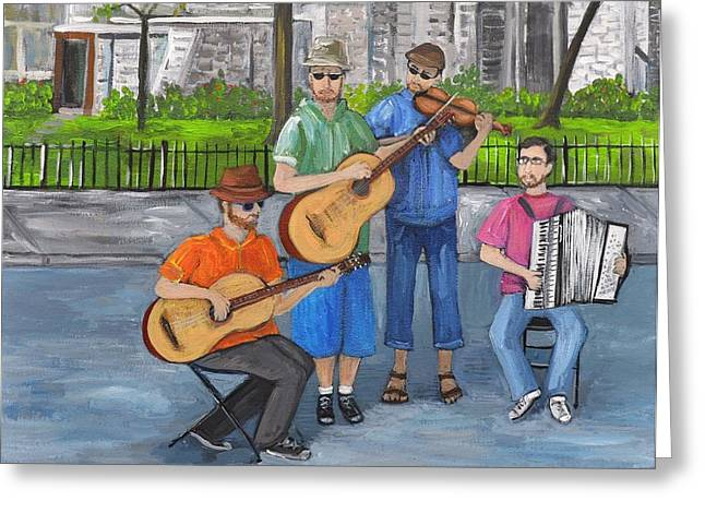 Street Musicians Greeting Cards - Music Revisited Greeting Card by Reb Frost