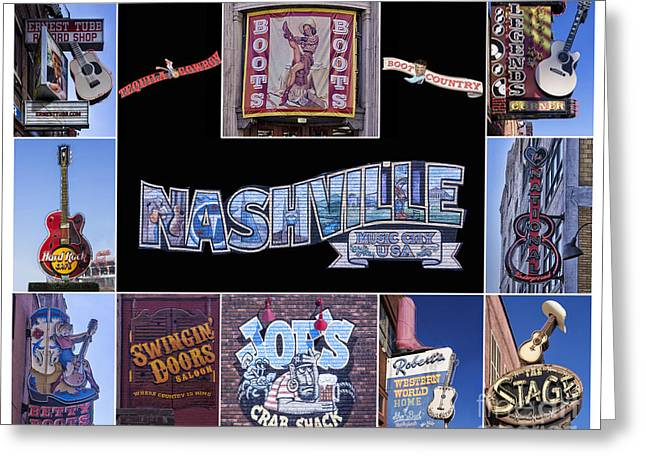 Saloons Greeting Cards - Music Row Nashville  Greeting Card by Priscilla Burgers