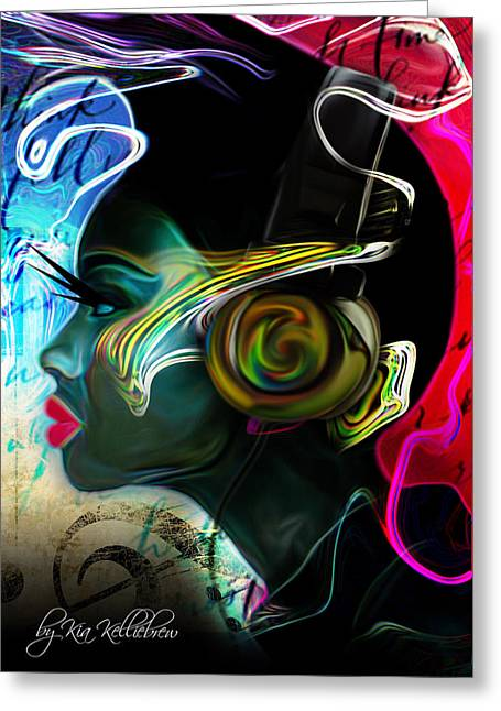 African-american Digital Greeting Cards - Music Session Greeting Card by Kia Kelliebrew