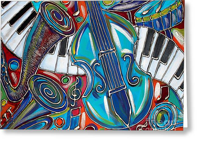 Turquoise Violin Greeting Cards - Music Time 1 Greeting Card by Cynthia Snyder