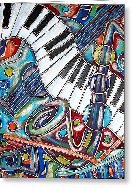 Turquoise Violin Greeting Cards - Music Time 3 Greeting Card by Cynthia Snyder