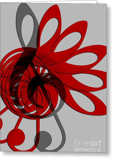Lounge Digital Greeting Cards - Music Treble Clef Abstract in Gray Red and Black Greeting Card by Natalie Kinnear