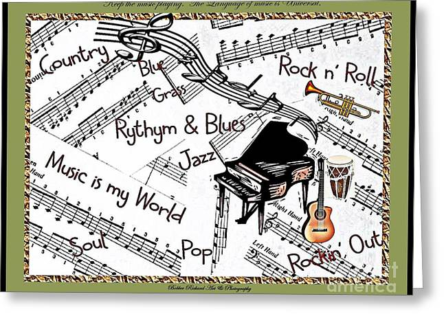 Graphics Framed Prints Greeting Cards - Music Tribute Greeting Card by Bobbee Rickard