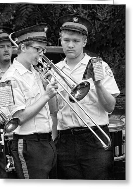Marching Band Greeting Cards - Music - Trombone - A helping hand  Greeting Card by Mike Savad