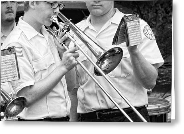Music - Trombone - A helping hand  Greeting Card by Mike Savad