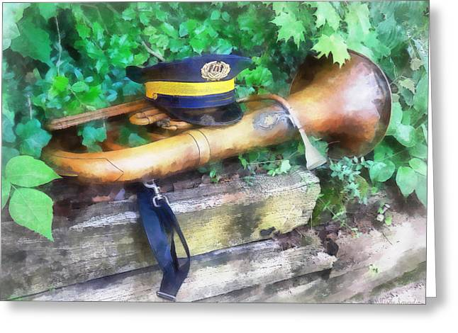 Horn Greeting Cards - Music - Tuba Before Parade Greeting Card by Susan Savad