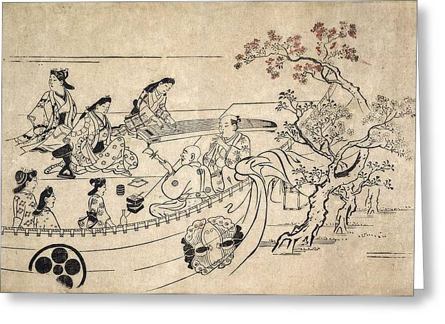 Rattle Greeting Cards - Music Under The Cherry Tree At Ueno Greeting Card by Hishikawa Moronobu