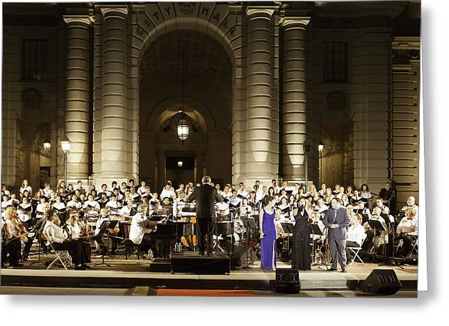 Jet Star Greeting Cards - Music Under the Stars - Symphony at Pasadena City Hall California Greeting Card by Ram Vasudev