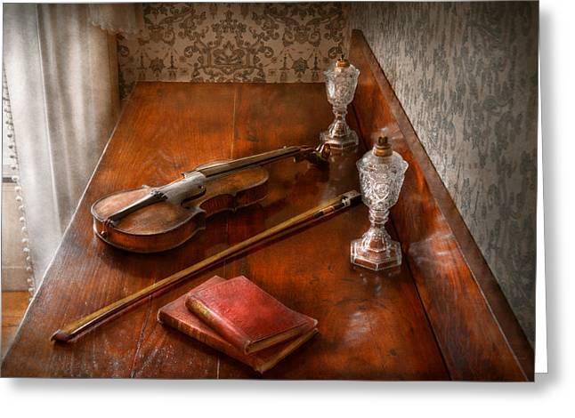 Violin Bows Violin Bows Greeting Cards - Music - Violin - A sound investment  Greeting Card by Mike Savad