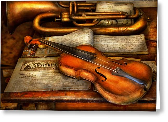 Customizable Greeting Cards - Music - Violin - Played its last song  Greeting Card by Mike Savad