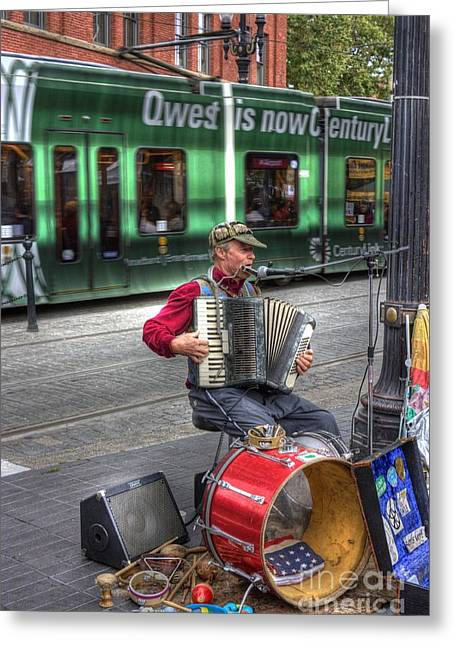 Street Musicians Greeting Cards - Music was his life - it was not his livelihood Greeting Card by David Bearden