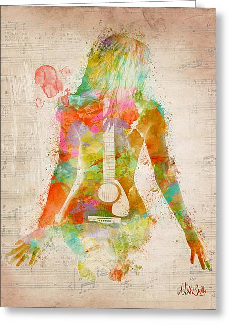 Watercolor Greeting Cards - Music Was My First Love Greeting Card by Nikki Marie Smith