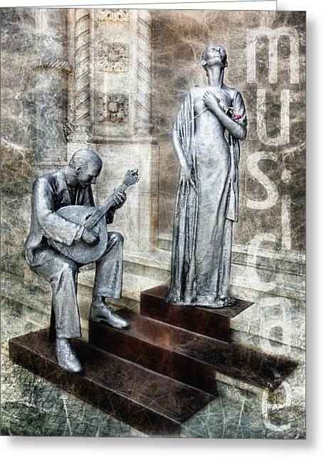 Guitar Sculpture Greeting Cards - Musica E Greeting Card by Joachim G Pinkawa