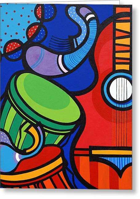 Musica Greeting Card by Mary Tere Perez