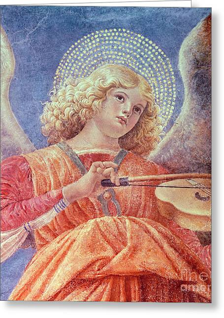 Strumming Greeting Cards - Musical Angel with Violin Greeting Card by Melozzo da Forli