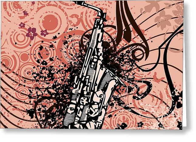 Grungy Drawings Greeting Cards - Musical Background Greeting Card by ClipartDesign