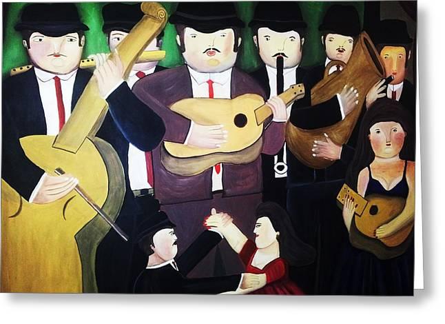 Musical Boteros Greeting Card by Vickie Meza