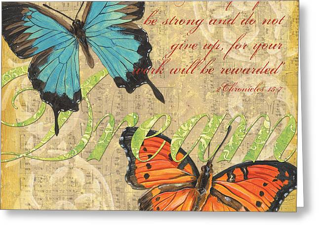 Aged Greeting Cards - Musical Butterflies 1 Greeting Card by Debbie DeWitt