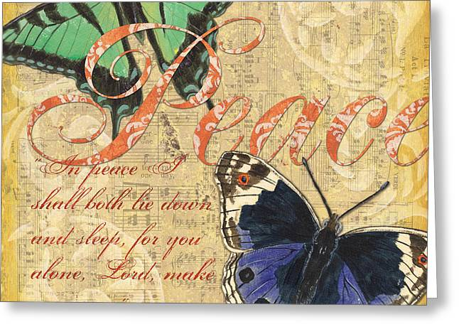 Scripture Mixed Media Greeting Cards - Musical Butterflies 2 Greeting Card by Debbie DeWitt