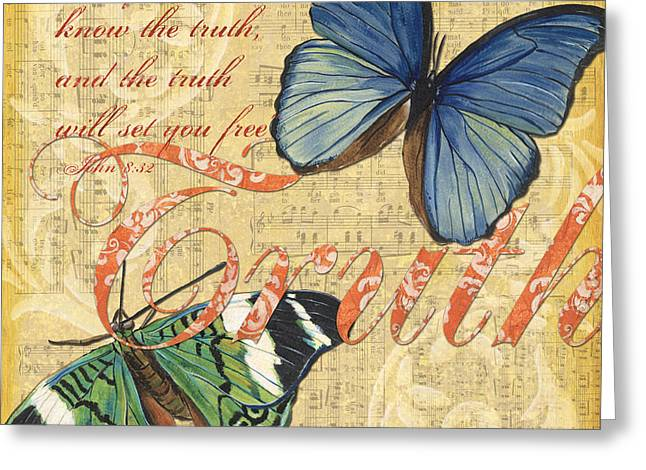 Scripture Mixed Media Greeting Cards - Musical Butterflies 3 Greeting Card by Debbie DeWitt