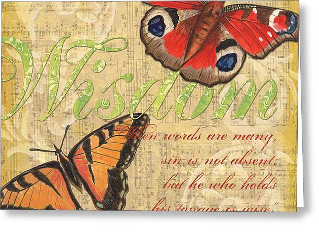 Scripture Mixed Media Greeting Cards - Musical Butterflies 4 Greeting Card by Debbie DeWitt