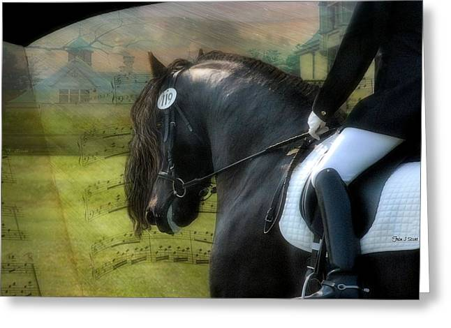 Friesian Greeting Cards - Musical Freestyle Greeting Card by Fran J Scott
