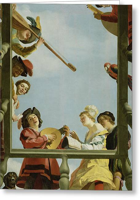 Lute Paintings Greeting Cards - Musical Group on a Balcony Greeting Card by Gerrit van Honthorst