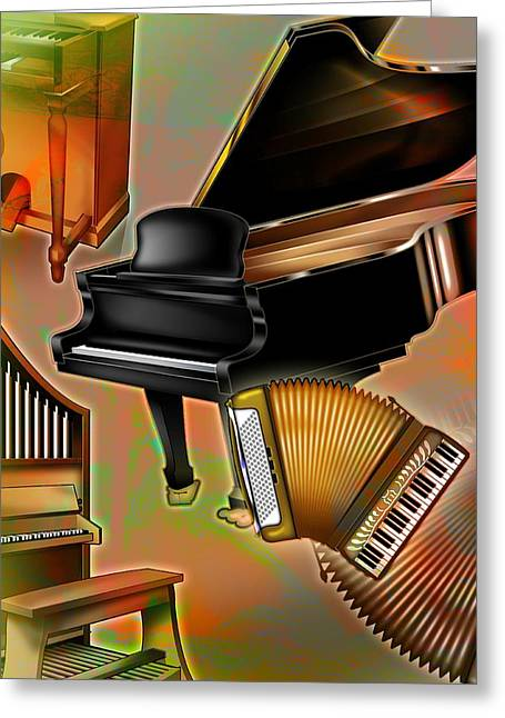 Accordion Greeting Cards - Musical Instruments With Keyboards Greeting Card by Design Pics Eye Traveller