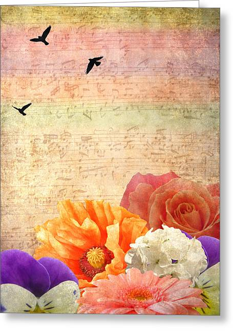 Red Geraniums Digital Greeting Cards - Musical light Greeting Card by Sharon Lisa Clarke