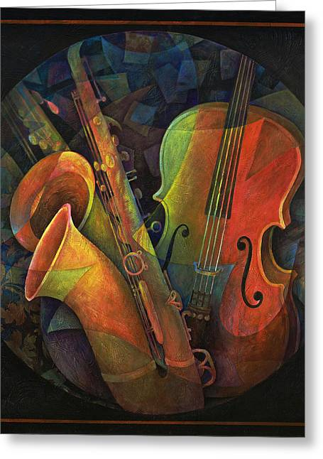 Alto Greeting Cards - Musical Mandala - Features Cello and Saxs Greeting Card by Susanne Clark
