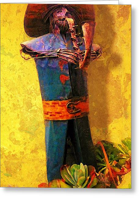 Mexican Fiesta Greeting Cards - Musical Mariachi Greeting Card by Ron Regalado