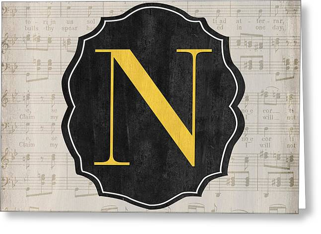Music Notes Greeting Cards - Musical Monogram Greeting Card by Debbie DeWitt