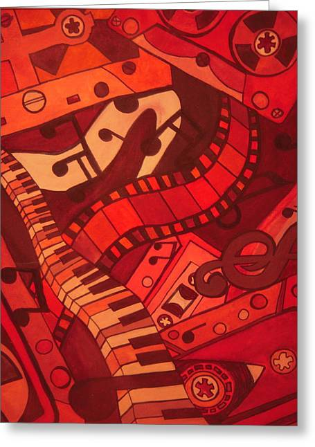 Noise . Sounds Mixed Media Greeting Cards - Musical Movements Greeting Card by Chelsea Allen