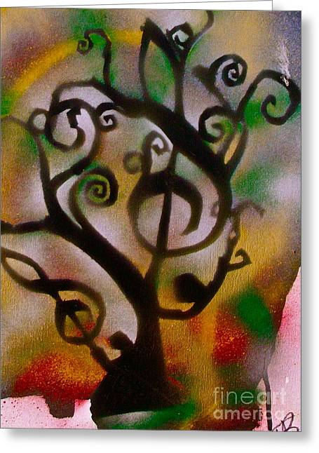 Metaphysics Greeting Cards - Musical Tree Golden Greeting Card by Tony B Conscious