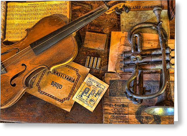 Music Time Greeting Cards - Musician -  Stradivarius and Trumpet at Rest III Greeting Card by Lee Dos Santos