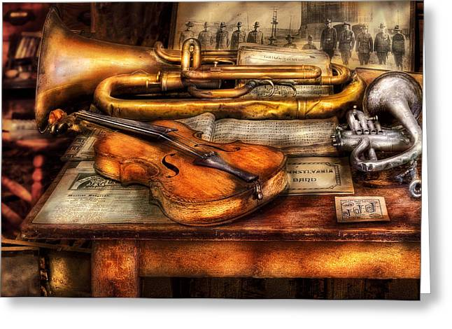 Maestro Greeting Cards - Musician - Horn - Two horns and a Violin Greeting Card by Mike Savad
