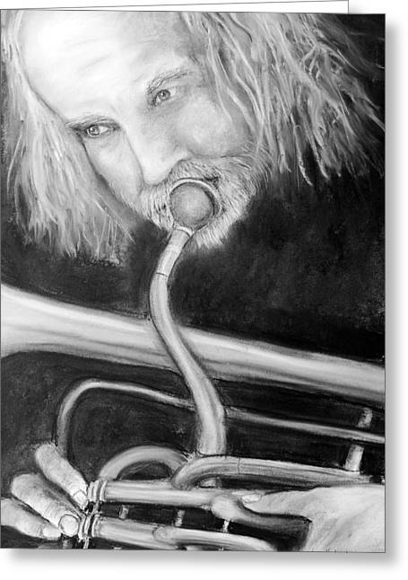 Horns Pastels Greeting Cards - Musician Greeting Card by Loretta Luglio