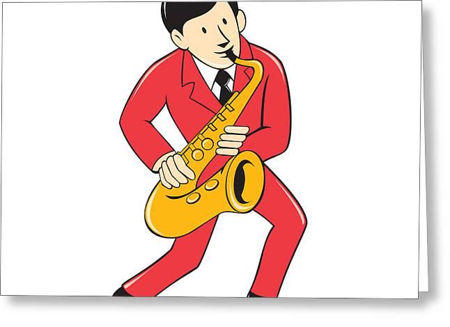 Playing Musical Instruments Digital Art Greeting Cards - Musician Playing Saxophone Cartoon Greeting Card by Aloysius Patrimonio