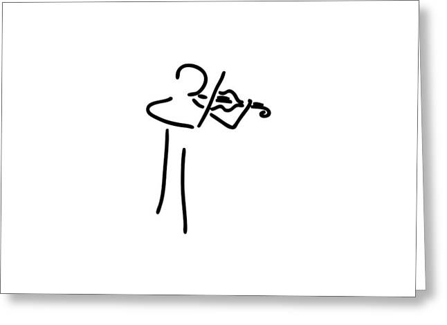 Violin Player Drawings Greeting Cards - musician violinist plays violin string player Violonist violin Greeting Card by Lineamentum