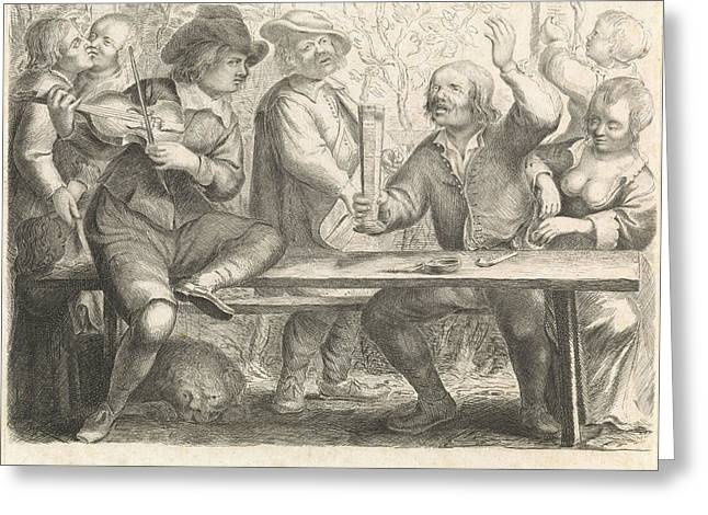 Musicians And Drinking In A Tavern, Print Maker William Greeting Card by William Young Ottley And Jan Miense Molenaer