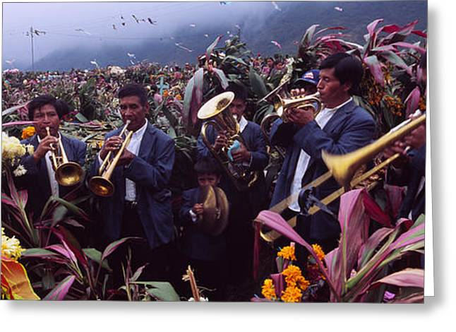Playing Musical Instruments Greeting Cards - Musicians Celebrating All Saints Day By Greeting Card by Panoramic Images