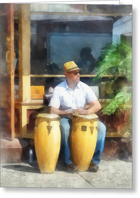 Musician Greeting Cards - Musicians - Playing Bongo Drums Greeting Card by Susan Savad