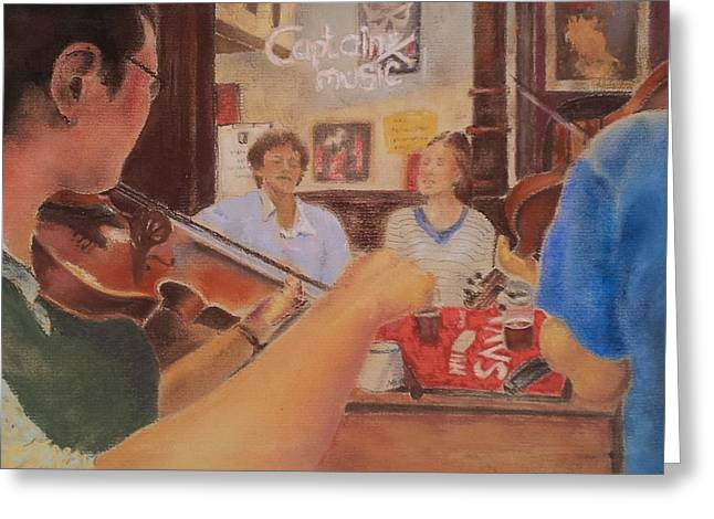 Irish Folk Music Greeting Cards - Musicians Table Greeting Card by Audrey Kennedy