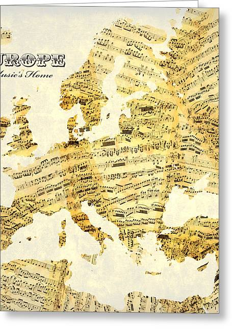 Vintage World Map Greeting Cards - Musics Home Greeting Card by Gary Grayson