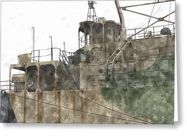 Warship Drawings Greeting Cards - Muskegon Lake Harbor Naval Ship  Greeting Card by Rosemarie E Seppala
