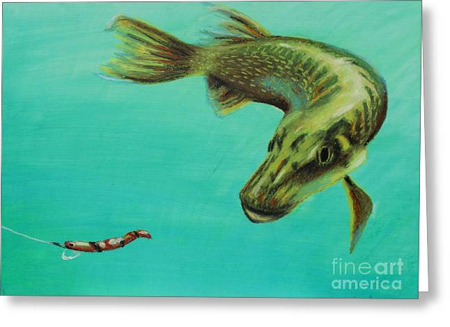Sea Animals Greeting Cards - Muskie and the Lure Greeting Card by Jeanne Fischer