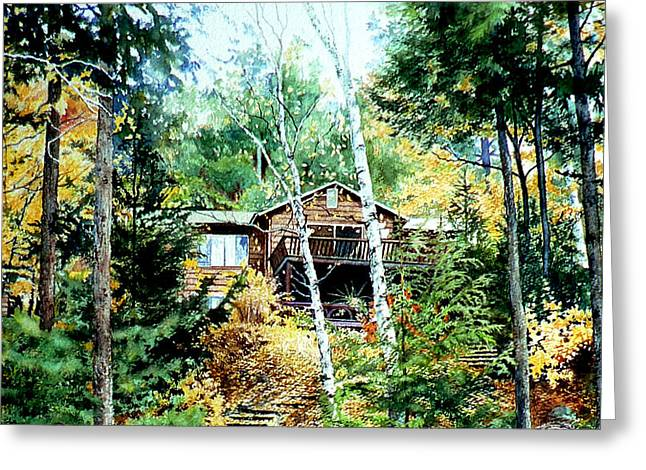 Photograph Of Artist Paintings Greeting Cards - Muskoka Cottage Retreat Greeting Card by Hanne Lore Koehler